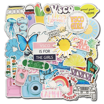 50pcs Vsco Cute Stickers for Hydro Flask Ins Vinyl Decals Laptop Phone Computer PC Water Bottle Luggage Skateboard Kids Gift - discount item  34% OFF Classic Toys