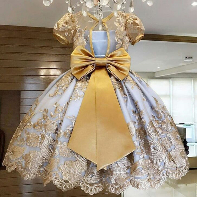 Princess Kids Dresses for Girls Tutu Lace Flower Embroidered Ball Gown Children Wedding Party 5