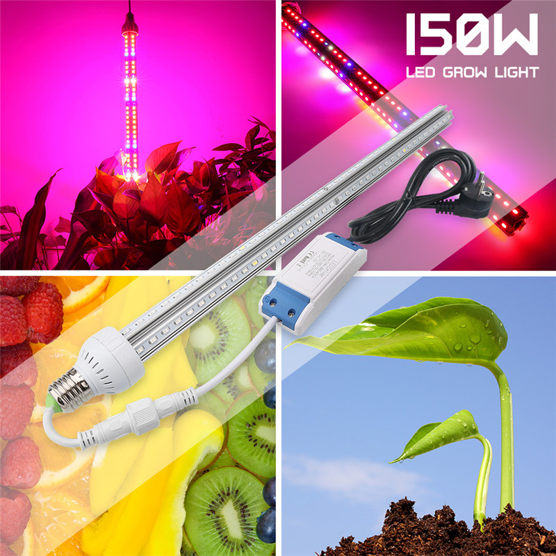 150W Full Spectrum LED Grow Light Bar Lámpara de planta de interior Rojo Azul Blanco IR UV para plantas Vegs Hydroponic Flower Grow Bloom Carpa