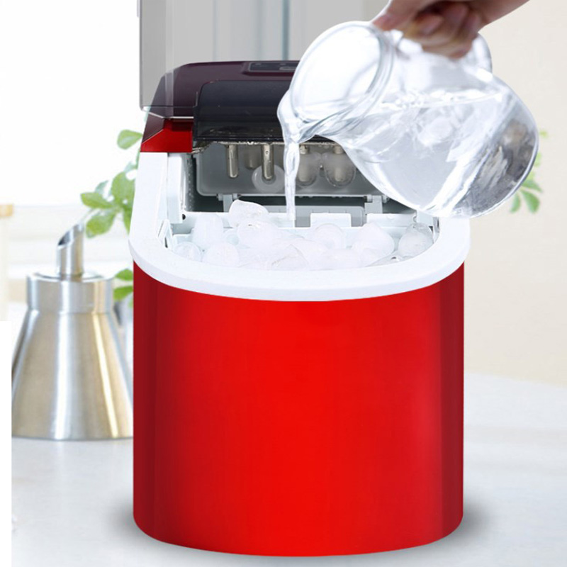 15KG/24H Ice Maker Bullet Ice Home Electric Ice Machine Round Ice Making Machine Big Bar Coffee Teamilk Shop 220v Red/silver