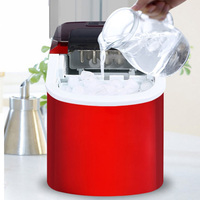 15KG/24H Ice Maker Bullet Ice Home Electric Ice Machine Round Ice Making Machine Big Bar Coffee Teamilk Shop 220v red/silver|Ice Makers| |  -