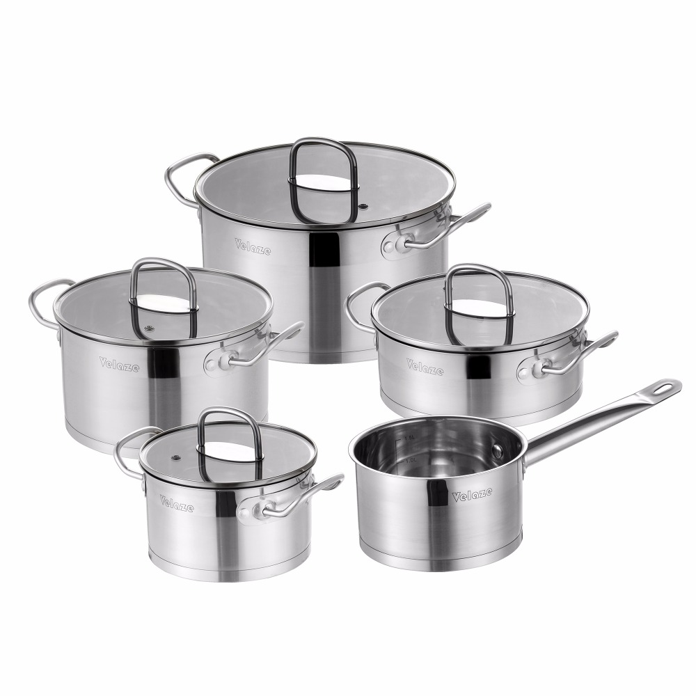 Velaze Kitchen Cookware Set 9 Piece Stainless Steel Cooking Pot & Pan Sets, Induction Safe, Saucepan, Casserole,with Glass lid 1