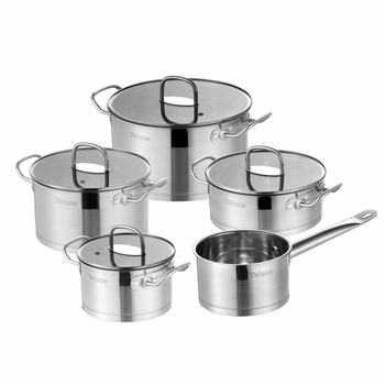 Velaze Kitchen Cookware Set 9 Piece Stainless Steel Cooking Pot & Pan Sets, Induction Safe, Saucepan, Casserole,with Glass lid 1
