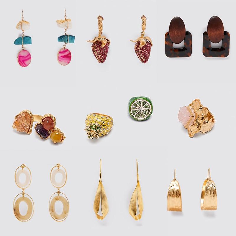 2020 ZA Cute Strawberry Dangle Earring for Women Vintage Metal with Wood Drop Earrings Boho Shell Cherry Tassel Long Earring