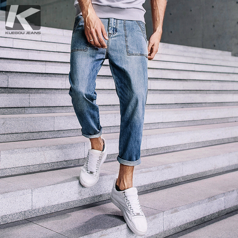 【Kuegou】 Men Harlan Jeans Man Pedicure Nine Minutes Of Pants Summer Fashion Casual Jeans  South Korean Style Blue Jeans KK-2377