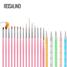 ROSALIND Gel polaco cepillo de uñas para manicura herramienta Set 3D pluma Gel acrílico cepillos Liner accesorios de manicura decoración cepillos