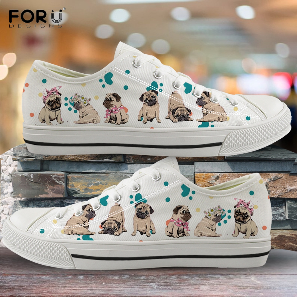 FORUDESIGNS Cute Pug Dog And Paw Footprint Pattern Woman Low Top Canvas Shoes Spring/Autumn Woman Sneakers Girl Vulcanized Shoe