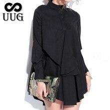 Blusas UUG プラスサイズ女性ブラウスロングシャツ長袖黒シャツ女性ソリッドホワイト トップスターンダウン襟シャツ