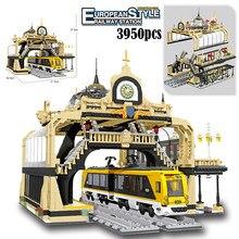MOC City 3950pcs European Street View Railway Station Building Blocks Assembled Bricks Sets Creator Architecture toys for kids