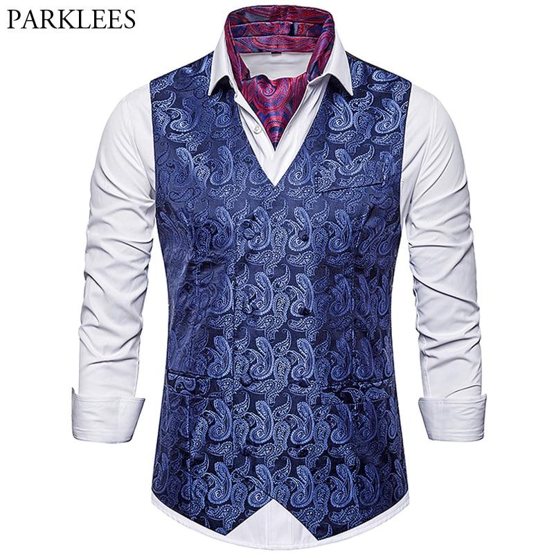 Cashew Flower Priting Suit Vest Men's 2019 New Brand Fashion Luxury Slim Fit Double-breasted Wedding Host Party Bar Men Vests
