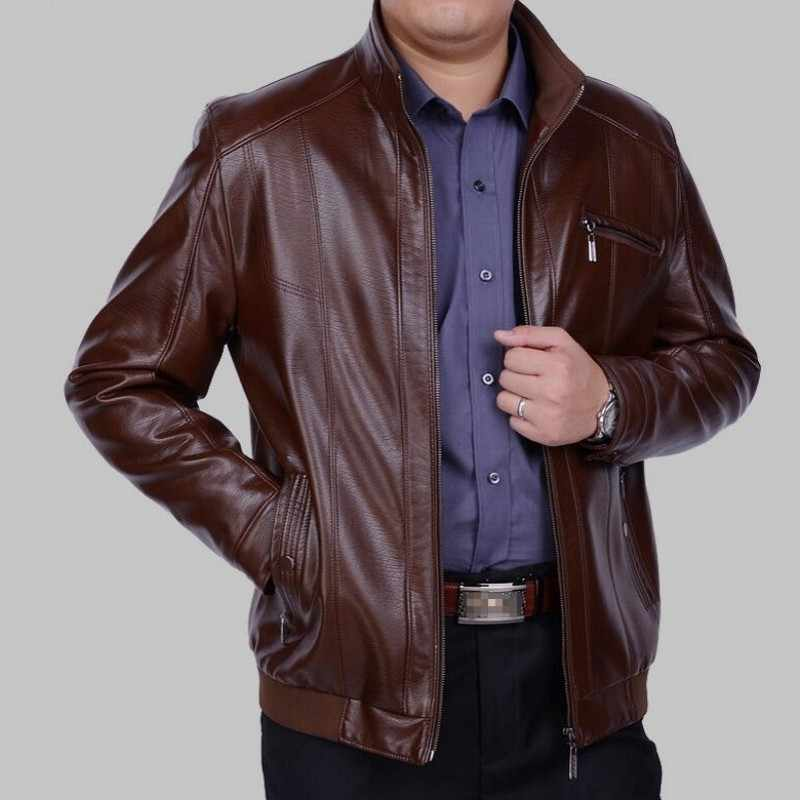 Gratis Verzending 2020 Mannen Merk Dikke Faux Lederen Jassen Motorcycle Pu Leather Jacket Casual Fashion Fleece Warm Mannen Jassen 4XL