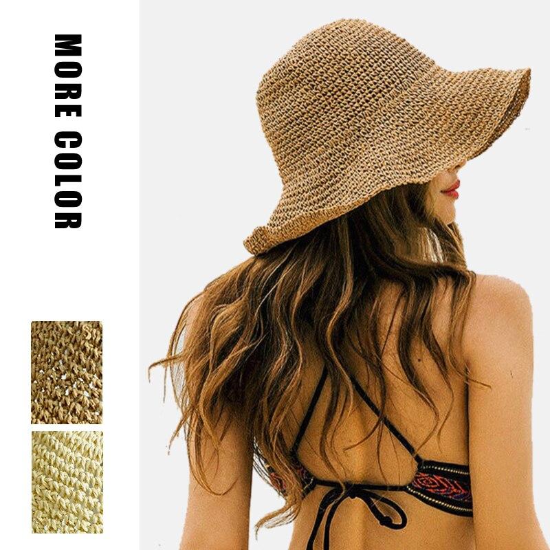 Женские летние шляпы, Пляжная соломенная шляпа с широкими полями, складывающиеся уличные кепки, шляпа из рафии для отдыха и отдыха