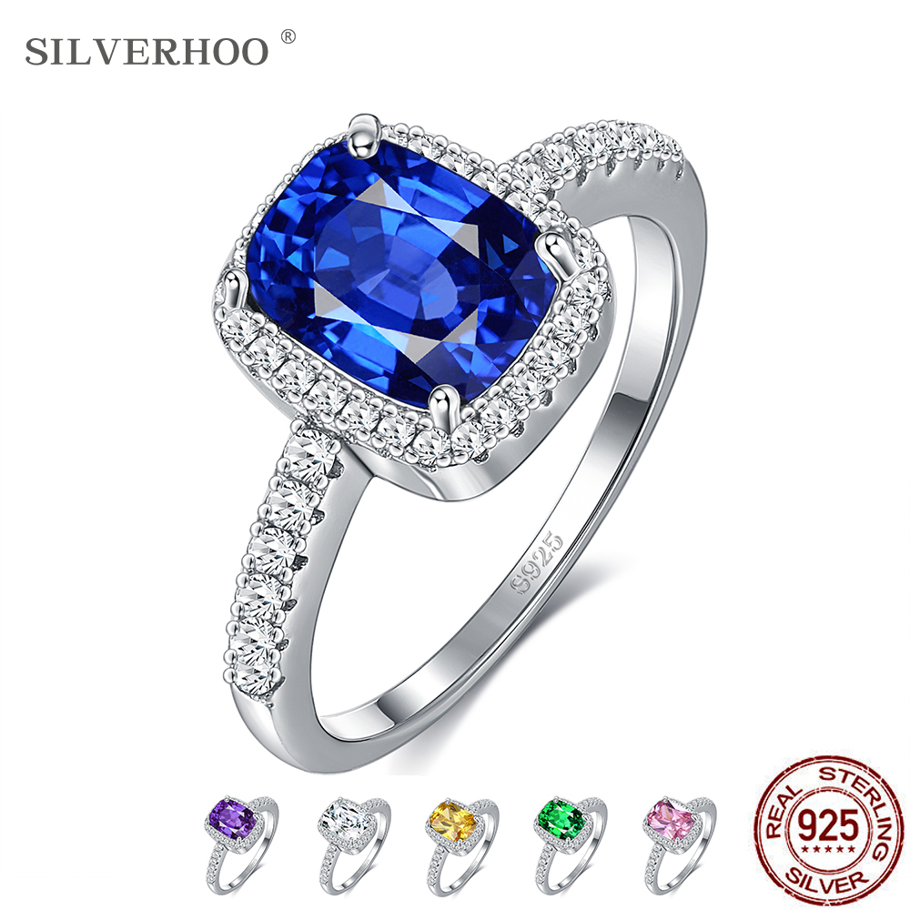 SILVERHOO 6 Colors Silver Rings Emerald Gemstone Cubic Zirconia Rings For Women Wedding Party Ring 925 Sterling Silver Jewelry
