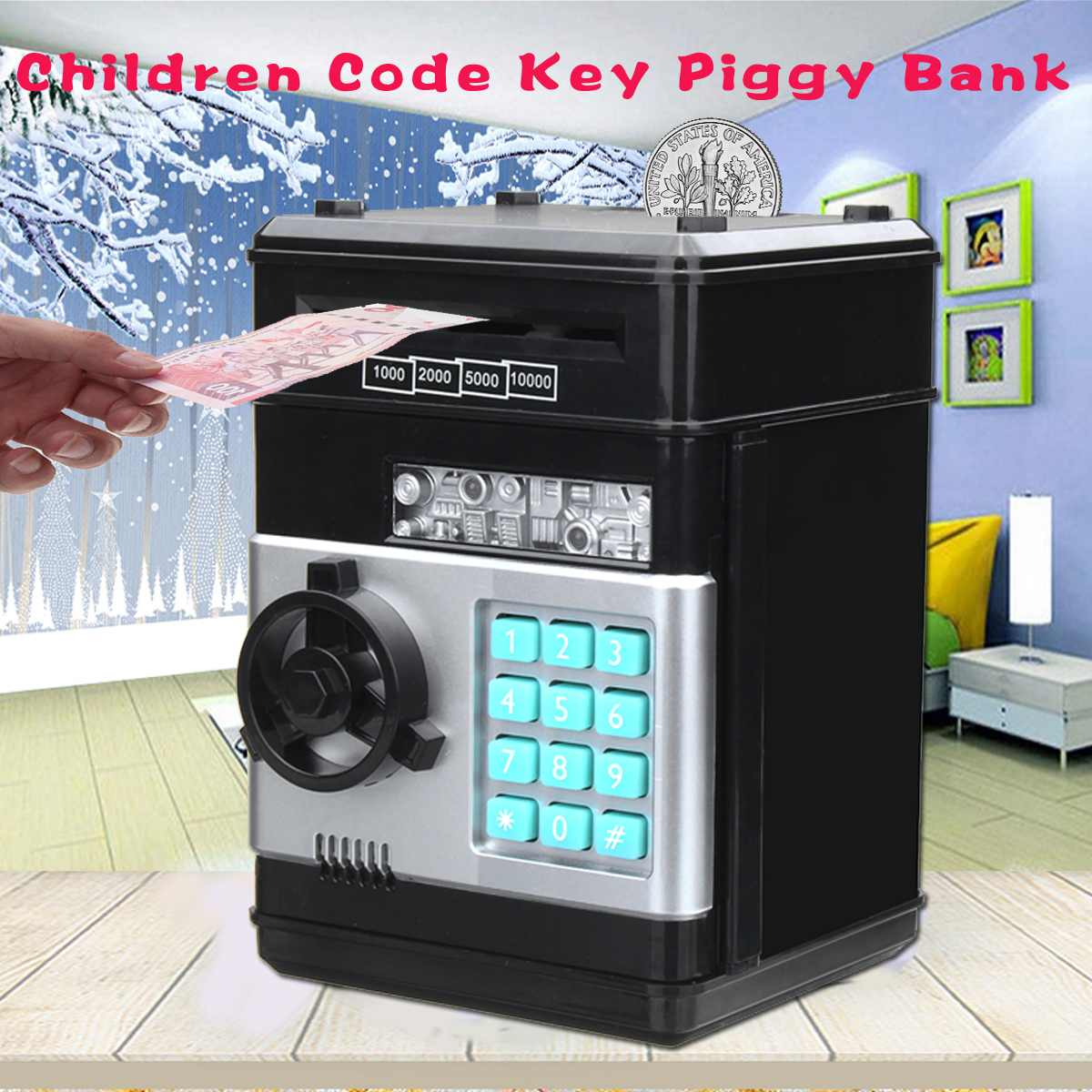 Money Box Counter Mini Safe Box Child Gift Electronic Password Money Box Code Key Lock Piggy Bank Automatic Coins Cash Saving