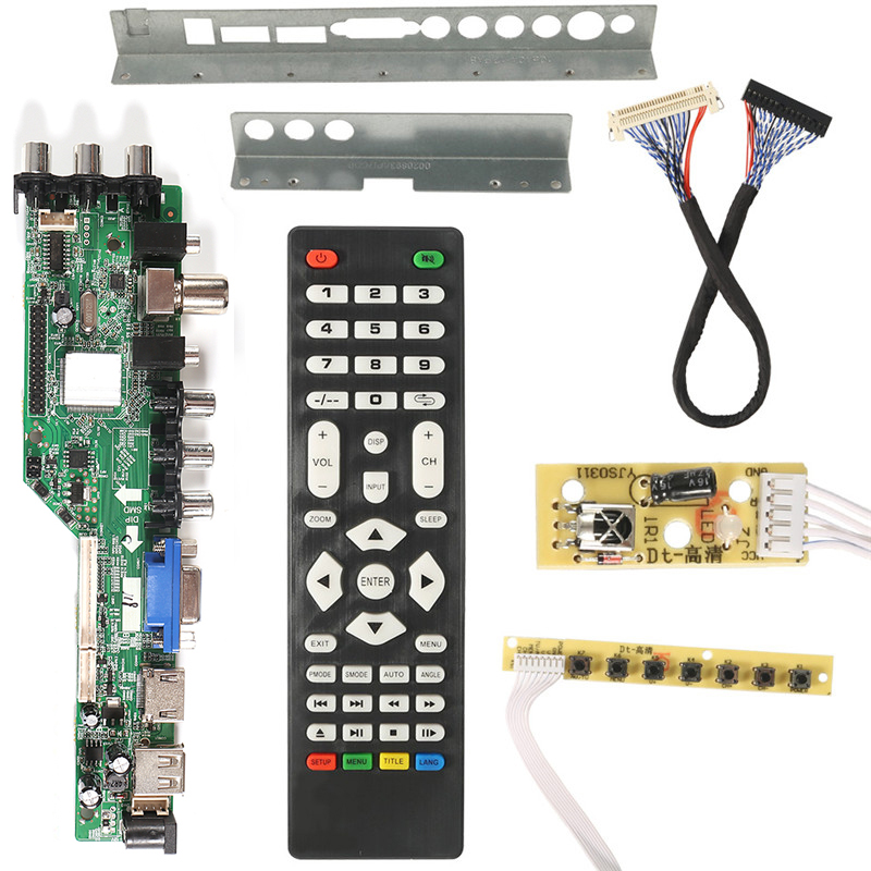 3663 New Digital Signal DVB-C DVB-T2 DVB-T Universal LCD TV Controller Driver Board UPGRADE 3463A Russian USB play LUA63A82