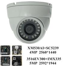 Cámara de techo de Metal IP de 5MP, 4MP, 3516EV300 + IMX335 2592*1944 XM530 + SC5239 2560*1440 CMS XMEYE ONVIF IRC NightVision P2P RTSP