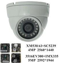 Caméra dôme de plafond en métal IP 5MP 4MP 3516EV300 + IMX335 2592*1944 XM530 + SC5239 2560*1440 CMS XMEYE ONVIF IRC vision nocturne P2P RTSP