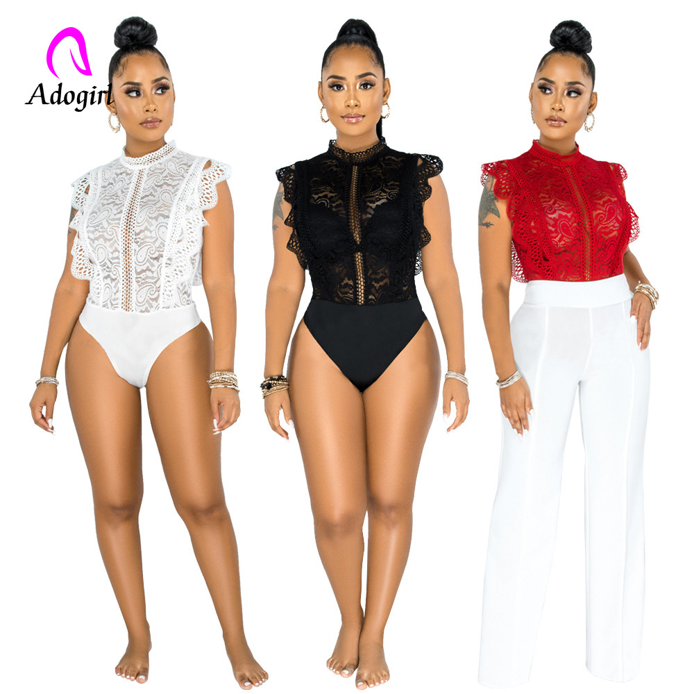 Black Lace Spliced Sexy Bodysuit for Women Stand Collar Sleeveless One Piece Overall Retro Female See Through Elegant Outfits