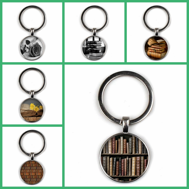 Vintage Punk Keychain Library Book Pattern Gothic Style Souvenir Gift Men and Women Gift Charm Bag Hand Made Key Ring Boyfriend