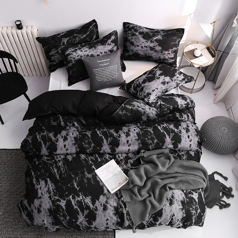 Classic Bedding Set Super King Duvet Cover Sets 3pcs Marble Single Queen Size Black Stone Comforter Bed Linens Cotton 200x200