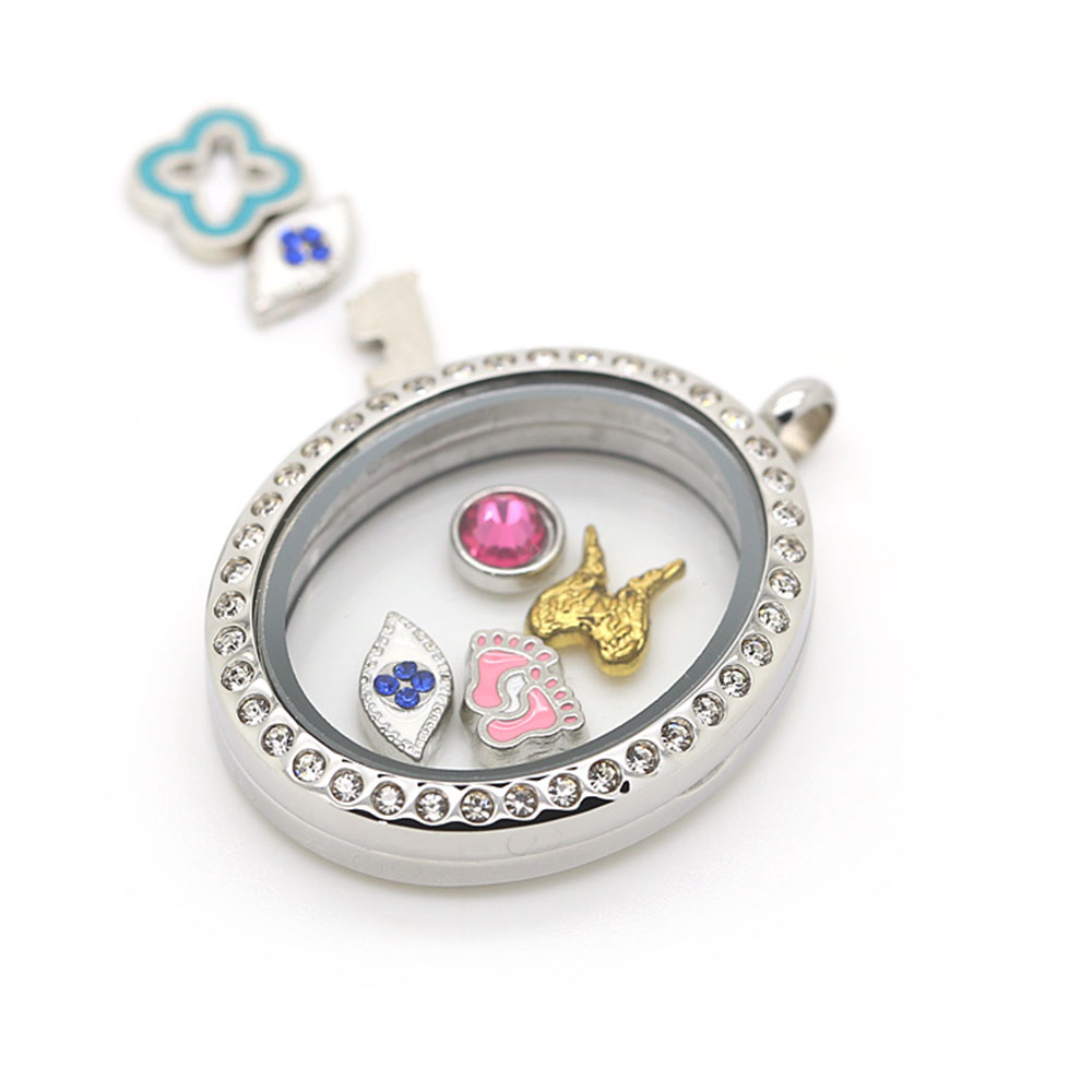 BOFEE Charm Oval Shape Floating Pendant Necklace Crystal Romantic Locket Magnetic Memory Fashion Stainless Steel Jewelry Gift in Pendants from Jewelry Accessories