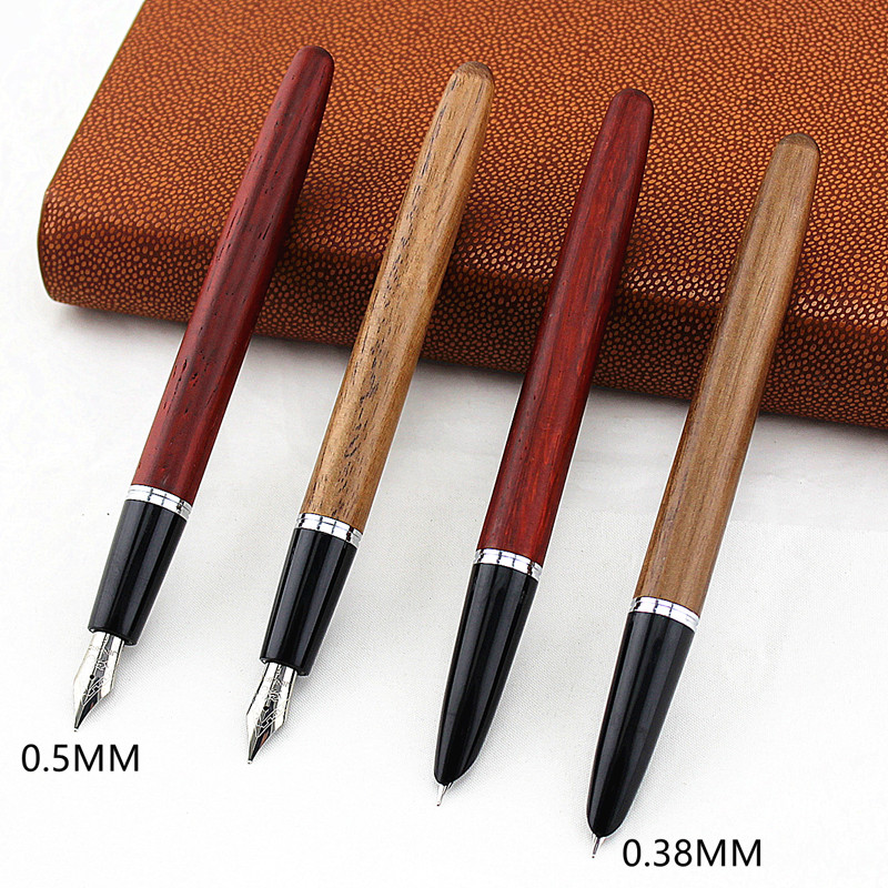 Jinhao Wood Fountain Pen 0.38/0.5/0.8mm Iridium Vulpen Writing Pluma Feather Parallel Pen Office School Art Supplies Stylo