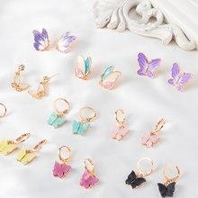 Brincos de borboleta bonito para mulheres estilo de rua brincos de gota estilo coréia moda balançar brincos de luxo jóias oorbellen presentes
