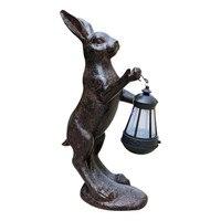 European Retro Animal Ornaments Rabbit lantern Statue Cute Children's Gifts Resin Craft Home Decor Solar Lamp
