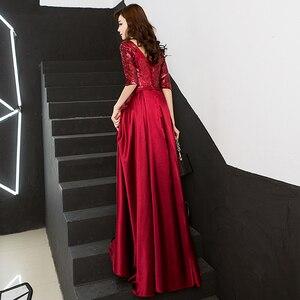 Image 3 - Nieuwe Collectie 5 Kleuren Avondjurken Schoonheid Emily Elegante V hals Half Mouw Satijnen Formele Avondjurk Party Dress met Sjerpen