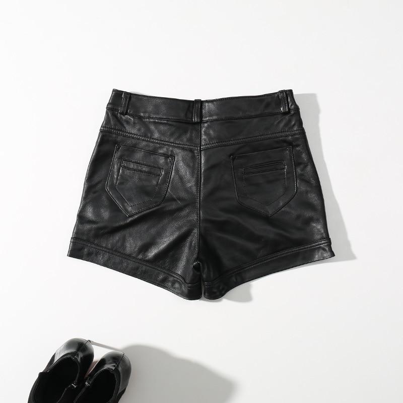 2020 New Autumn High Waist Leather Shorts Tight Sexy Black Shorts Women Ladies Genuine Leather Mini Short Girls Vintage