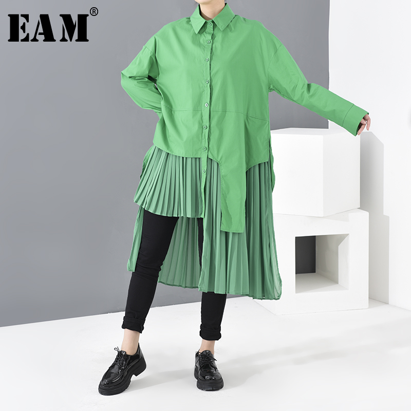 [EAM] Women Green Asymmetrical Pleated Shirt Dress New Lapel Long Sleeve Loose Fit Fashion Tide Spring Autumn 2020 1R08906