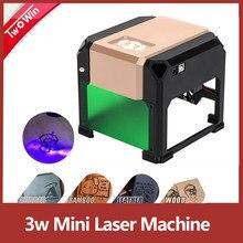 Mini impresora de logotipos láser, maquina grabador, área de trabajo 80x80 mm, manualidades, 3W, 3000mw CNC