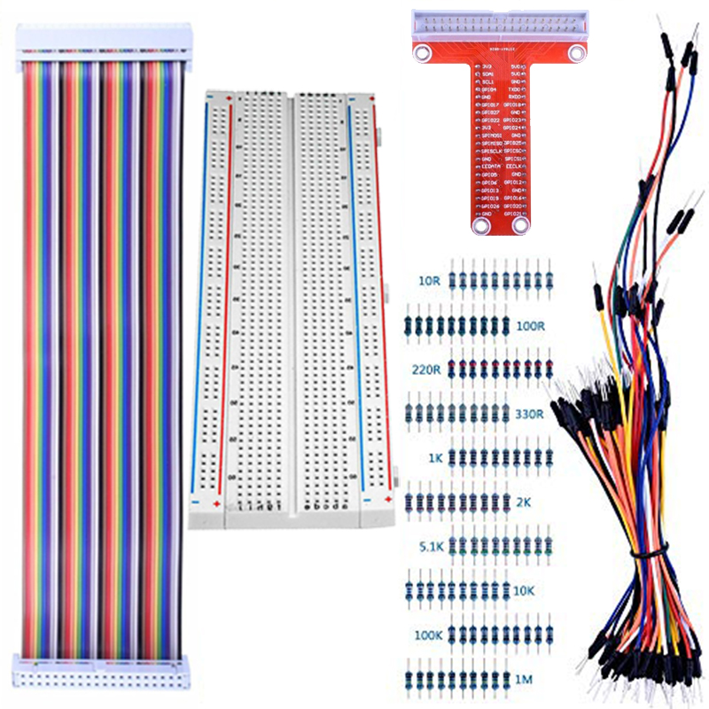 For Raspberry Pi 4B 3B+ Kit 830 MB-102 Tie Points Solderless Breadboard + GPIO T Type Expansion Board + 65pcs Jumper Wires Cable