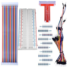 цена на For Raspberry Pi 4B 3B+ Kit 830 MB-102 Tie Points Solderless Breadboard + GPIO T Type Expansion Board + 65pcs Jumper Wires Cable