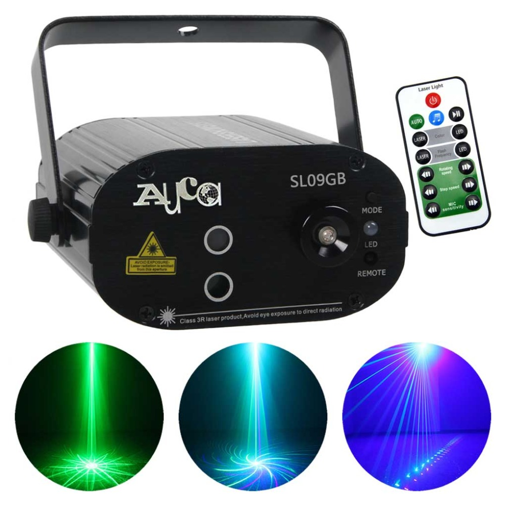 Mini Green Blue 9 Pattern Laser Projector Lights 3W Blove LED Mixing Effect Disco DJ Party Home Wedding Show Stage Lighting 09GB