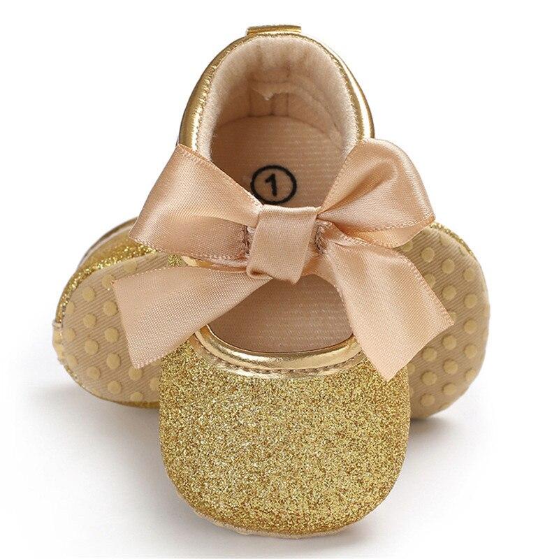 Glitter Cute Newborn Baby Girls Princess Bowknot Shoes Infant Kids Crib Sole Walking Shoes