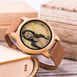 Image 3 - Bobo bird relógio para casal, relógio para casal com foto a laser de alta precisão pulseira de couro genuíno personalizar presente original para natal ele pode