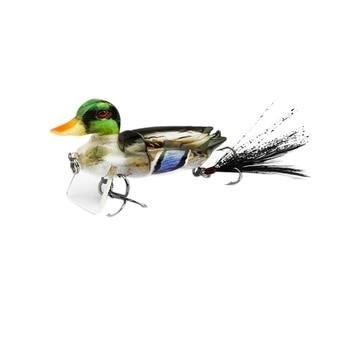 1 шт., 7 см, рыболовные приманки, плавающие, 3D, верхняя вода, утка, Swimbait с крючками, мульти, 2 секции, соединенная наживка, рыболовная блесна