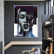 Modern Posters Wall Art Human Purple Face Canvas Painting Prints Pictures for Living Room Home Decoration graffiti art colorful rain prints on canvas modern canvas painting wall art posters and prints for living room home decoration