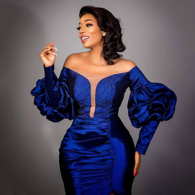 Royal Blue Evening Dresses Off Shoulder Mermaid Long Sleeves Custom Made Side Split Beaded Formal Party Gowns New Arrival 2