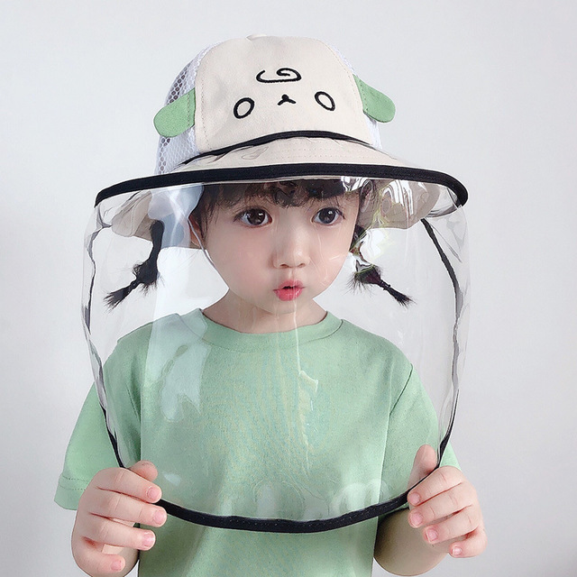 Summer Kids Bucket Hat Baby Protective Face Shield Cover Mask Hat Anti Saliva Dustproof Dual-use Mesh Breathable Sun Hat Cap 2