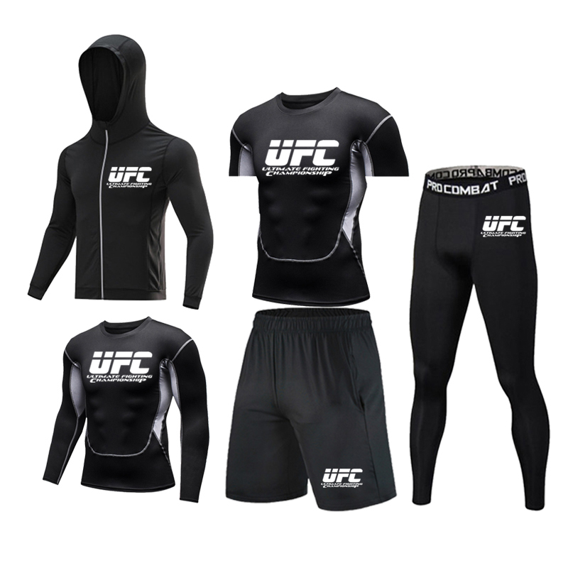 Men's 5 pieces / set running, jogging, sweat wicking, easy to dry T-shirt, gym fitness, compression and shaping sportswear