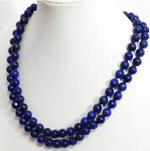 Jewelry Pearl Necklace 8mm-12mm natural Egyptian blue lapis lazuli round bead necklace 18-36'' Free Shipping(China)