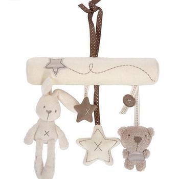 Dziecko odtwarzanie muzyki łóżko dzwonek zawieszany dziecko mobilne łóżeczko wózek dziecięcy dziecko grzechotka do kołyski zabawka miękki śliczny królik niedźwiedź zabawka dzwonek tanie i dobre opinie Other CN (pochodzenie) Dziewczyna Bell 3 lat Zwierząt Musical SOFT 200x180x10mm 20x18x1