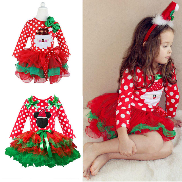 Fancy Baby Girl Carnival Santa Dress For Girls Minnie Mouse Holiday Children Clothing Party Tulle Kids Costume 1