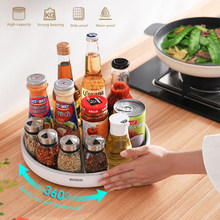 360° Rotating Spice Storage Rack Multifunctional Seasoning Organizer Shelf Oilproof Non-Slip Tray Supplies Holder for Kitchen