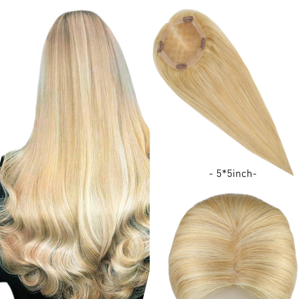 Moresoo Hair Toupee Clip in Machine Remy Hairpiece Wig For Women Piano Color Blonde Real Human Hair 5*5inch Natural Straight