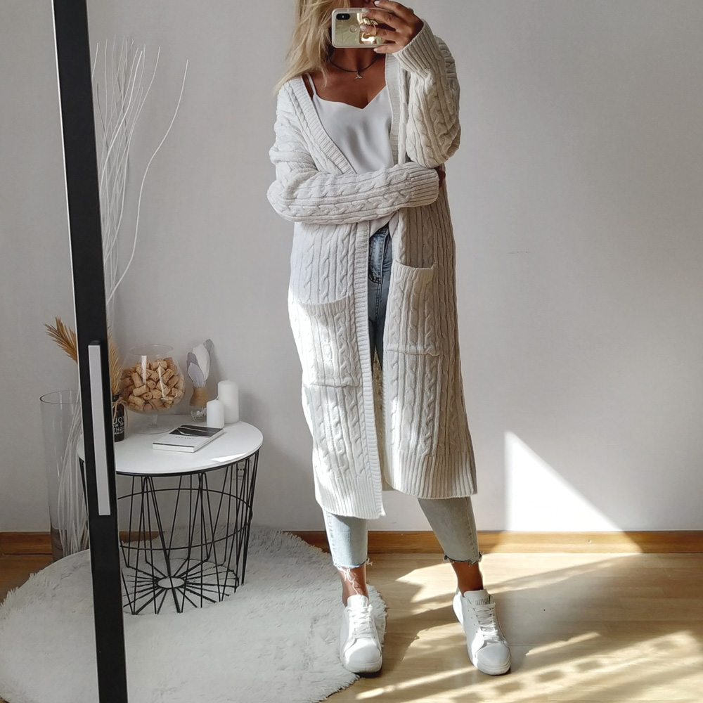 2019 Autumn Winter Fashion Cardigan Women Long Sleeve Loose Knitting Cardigan Sweater Female Solid Ladies Pocket Pull Femme