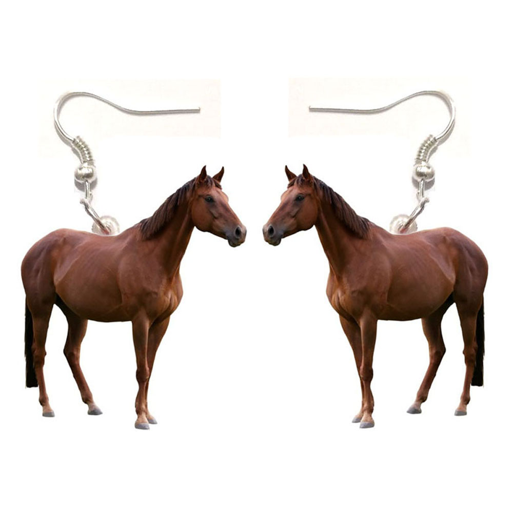 1 Pair Horse Acrylic Earrings Womens Earrings In Jewelry Gifts For Women Love Animal Horse Charm Fashion Stainless Steel Earring