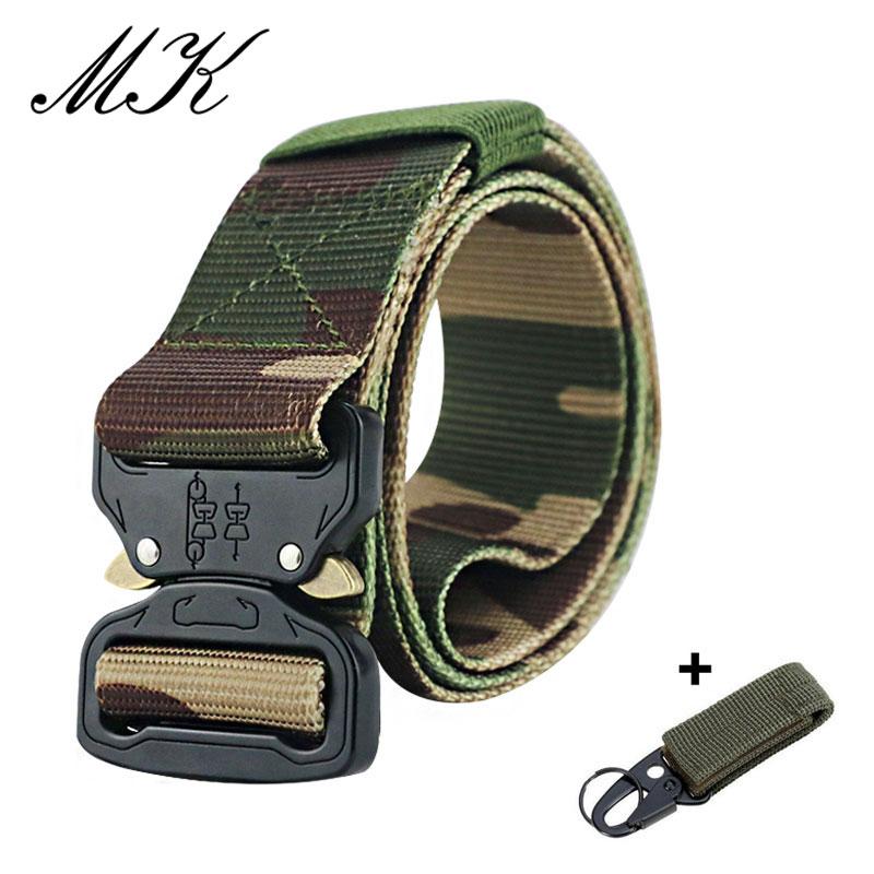 Maikun пояс мужской ремень военное оборудование боевые тактические ремни для мужчин армейский обучений нейлоновый пояс с металлической пряжкой открытый охотничий ремень - Цвет: Camouflage 4-1